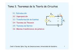 Tema 3. Teoremas de la Teoría de Circuitos