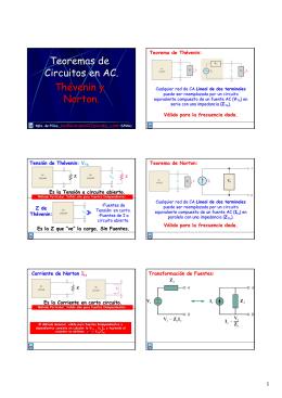 Teoremas de Circuitos en AC. Thévenin y Norton.