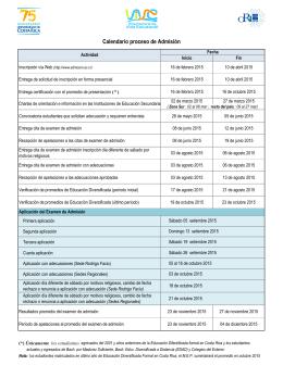 Calendrio de Admisión. Proceso 2015-2016
