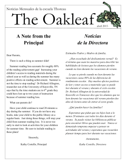 A Note from the Principal Noticias de la Directora