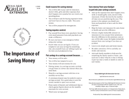 The Importance of Saving Money - Texas A&M AgriLife Extension