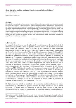Geografía de los apellidos catalanes. Estudio en base a listines
