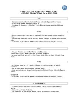 LECTURAS OBLIGATORIAS. Curso 2011-2012