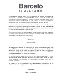 Press Release Barceló Tucancun Beach 2015.