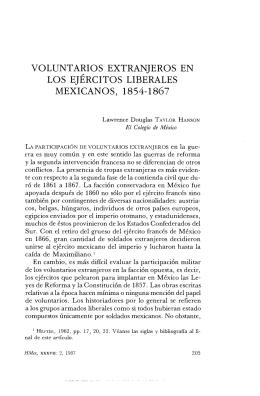voluntarios extranjeros en los ejércitos liberales mexicanos, 1854