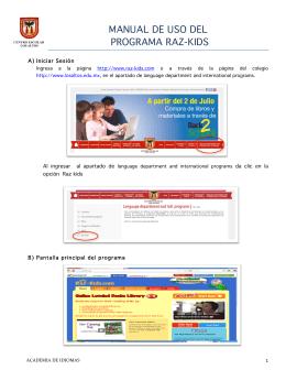 MANUAL DE USO DEL PROGRAMA RAZ-KIDS