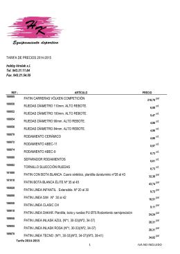 nueva tarifa 2014-2015