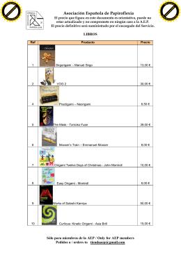 Catálogo de libros - Asociación Española de Papiroflexia