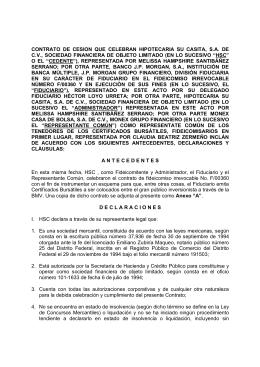 contrato de cesión que celebran hipotecaria su casita, sa de cv