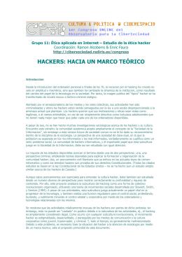 Ciberl@ndia - Hackers: hacia un marco teórico