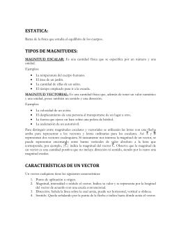 ESTATICA: TIPOS DE MAGNITUDES