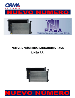 NUEVOS NÚMEROS RADIADORES RASA LÍNEA RR.