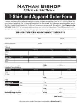 T-Shirt and Apparel Order Form