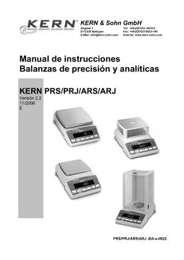 Manual de instrucciones Balanzas de precisión y analíticas