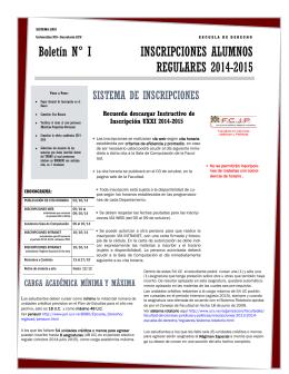 Boletín N° I INSCRIPCIONES ALUMNOS REGULARES 2014-2015