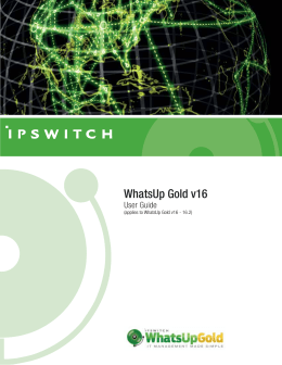 WhatsUp Gold v16.2 User Guide - Ipswitch Documentation Server