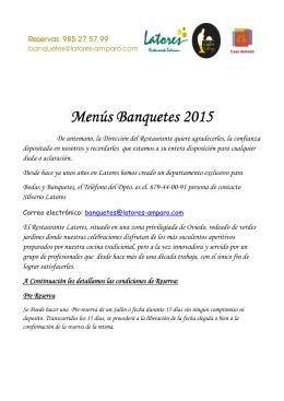 Menús Banquetes Banquetes Banquetes 2015