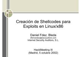 Creación de shellcodes para exploits en Linux/x86