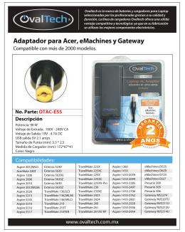 Adaptador para Acer, eMachines y Gateway