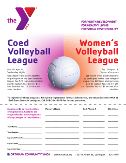 Coed Volleyball League Women`s Volleyball League