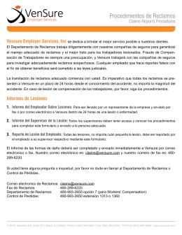 Procedimientos de Reclamos - VenSure Employer Services