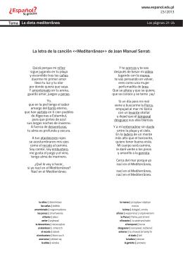 La letra de la canción Mediterráneo>> de Joan Manuel Serrat: