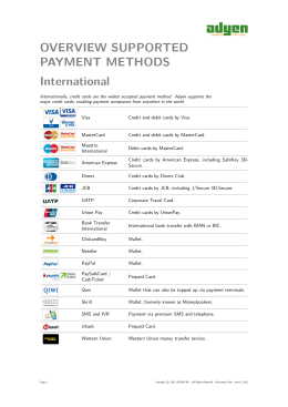 OVERVIEW SUPPORTED PAYMENT METHODS International
