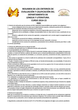 Lengua y literatura - Criterios de evaluación