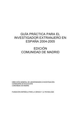 Guia práctica para el investigador extranjero en España