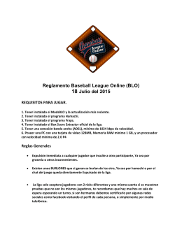 Reglamento Baseball League Online (BLO) 18 Julio del 2015