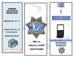 NUMEROS TELEFONICOS IMPORTANTES 300 L st. Antioch Ca