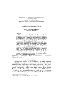 Lord Byron`s Allusions to Persia - Journal of Teaching Language Skills