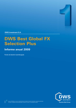 Informe anual DWS Best Global FX Selection Plus