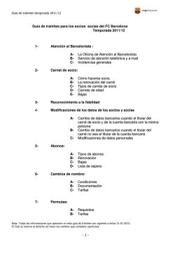 - 1 - Guía de tramites para los socios socias del FC Barcelona