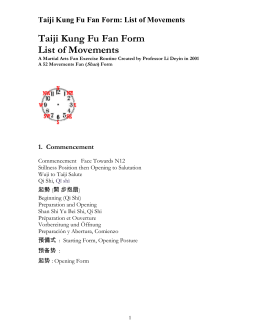 Taiji Kung Fu Fan Form by Li Deyin: List of Movements in Five
