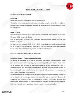 BASES FUTBOLITO COPA CCS 2015 ARTÍCULO 1
