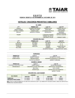 egipto hoteles / cruceros previstos o similares