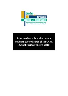 Información sobre el acceso a revistas suscritas por el SESCAM