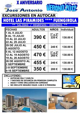 hotel las piramides **** fuengirola 390 € 450 € 240 € 470 € 455