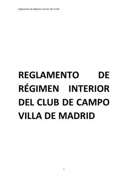 reglamento de régimen interior del club de campo villa de madrid
