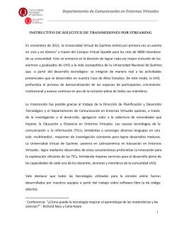 Instructivo de solicitud de transmisiones mediante el Sistema de
