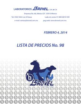 LISTA DE PRECIOS No. 98