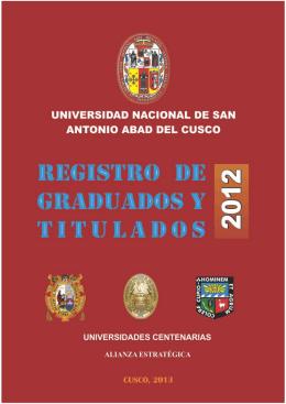Graduados y Titulados 2012 - Universidad Nacional de San Antonio
