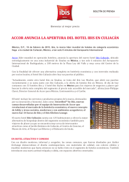 ACCOR ANUNCIA LA APERTURA DEL HOTEL IBIS EN CULIACÁN