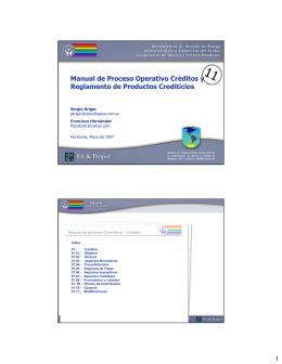 Manual de Proceso Operativo Créditos y Reglamento