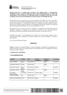 Listados definitivos de admitidos y excluidos.