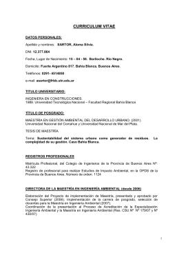 Mg. Ing Aloma Sartor - Facultad Regional Bahía Blanca