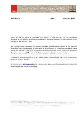 Boletín nº 4 Fecha Diciembre 2009 - Centro Atlántico de Arte Moderno