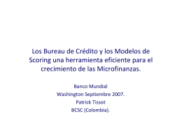 Los Bureau de Crédito y los Modelos de Scoring una herramienta