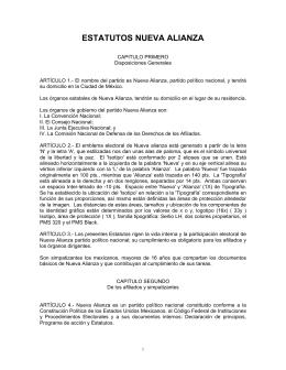 Estatutos Nueva Alianza - Instituto Nacional Electoral